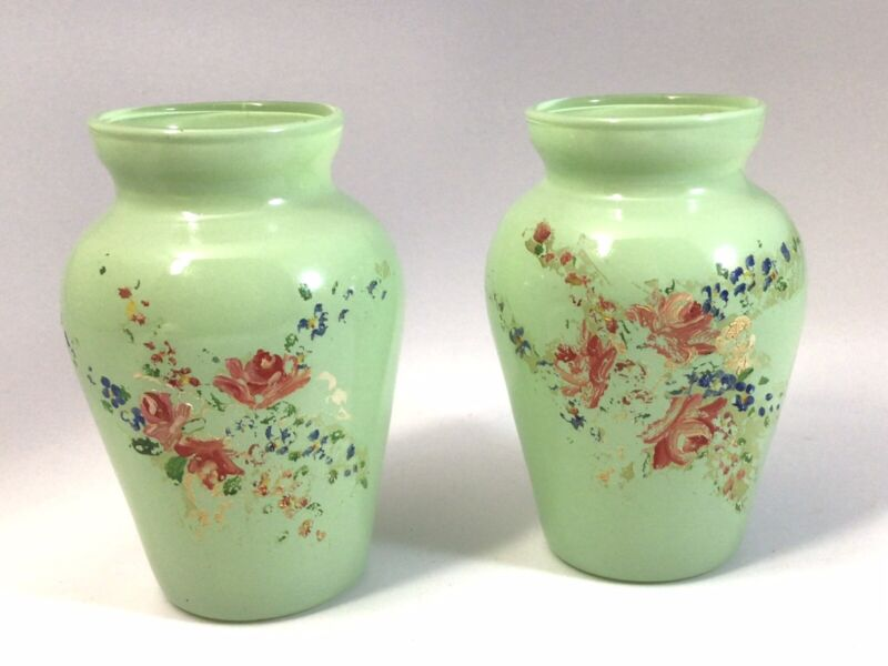 Vintage Pair Green Mini Vases Hand painted Jadeite?