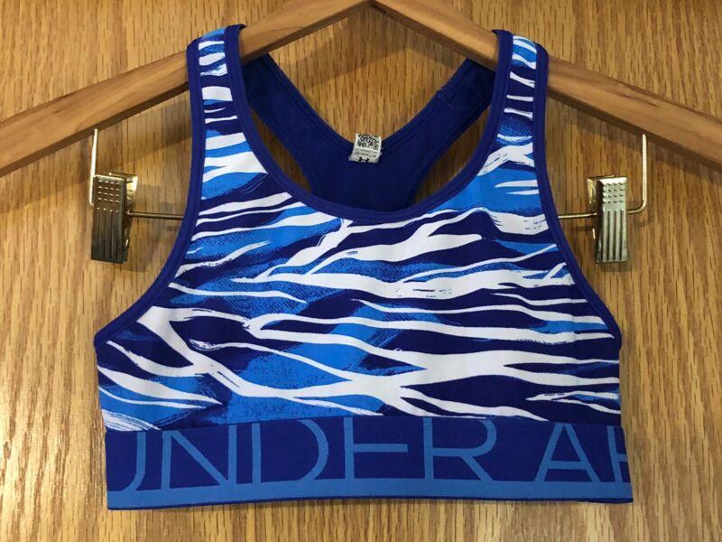 Girls Under Armour Mid Impact Blue Zebra Print Heat Gear Sports Bra Size Medium