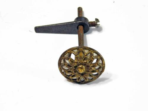 Antique Cupboard Cabinet Turn Catch w/ Knob in Ornate Cast Brass With Turn Arm