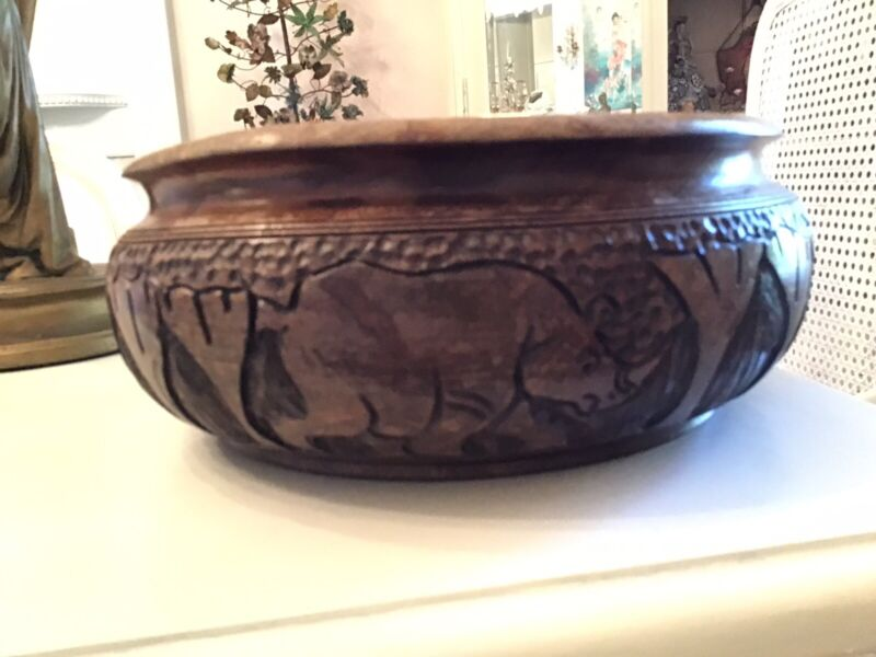 Antique Old hand? Carved Wood Elephant Rhino Bowl African? large fruit bowl