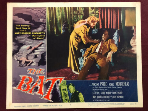 BAT LOBBY CARD MOVIE POSTER 1959 MONSTER MURDER VINCENT PRICE