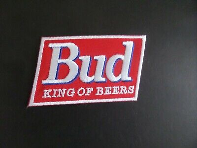 """BUDWEISER BEER"""" BUD KING OF BEERS   Embroidered 2-3/8 x 3-3/4 Iron On Patch"""