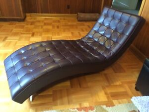 chaise lounge chair, Italian leather