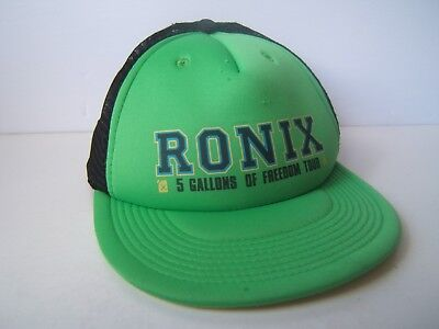 Ronix 5 Gallons of Freedom Tour Hat Green Black Snapback Trucker - 5 Gallon Hat