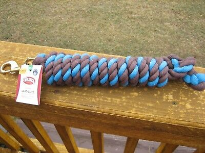 WEAVER BLUE AND BROWN 10'+ COTTON LEAD ROPE WITH GOLD BRASS SNAP HORSE TACK