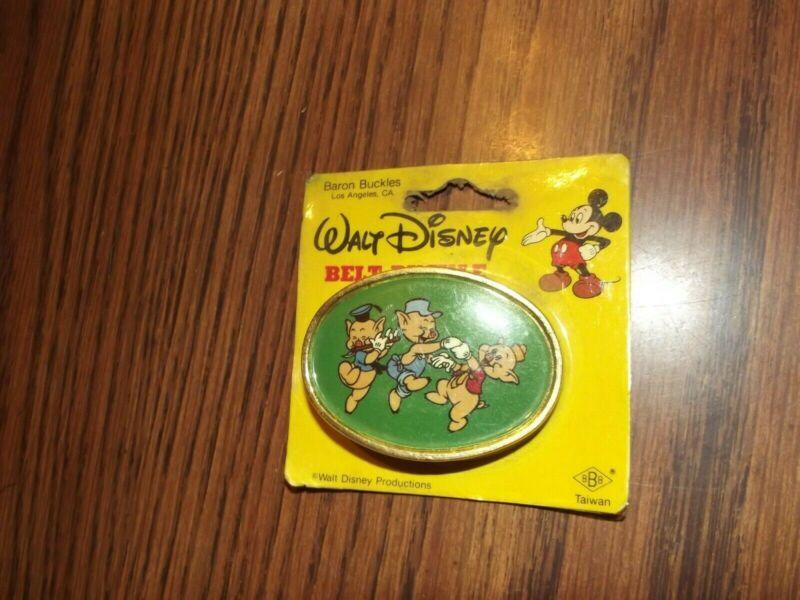 WDP Three Little Pigs Metal Belt Buckle MIP Disney