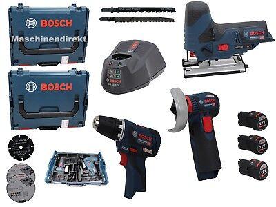 Bosch Akku Set Stichsäge GST 12V-70 + Bohrschrauber GSR 12V-20 + GWS 12V-76 ()