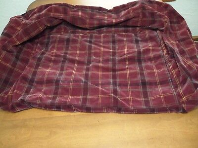 """Orvis Dog Bed Small Deep Dish Burgundy Plaid Cover Only 34"""" x 24"""""""