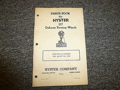 Hyster Vhr Towing Winch On Cat D7 Tractor Parts Catalog Owner Operator Manual