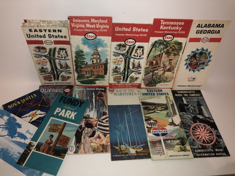 Lot Of Vintage Road Maps Esso Fina American Oil USA Canada Excellent
