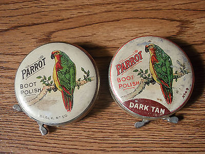 Old vintage PARROT BOOT POLISH advertising tin of 50's made in England (Pair).