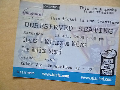 Ticket Rugby League- GIANTS v WARRINGTON WOLVES, 19 July 2008