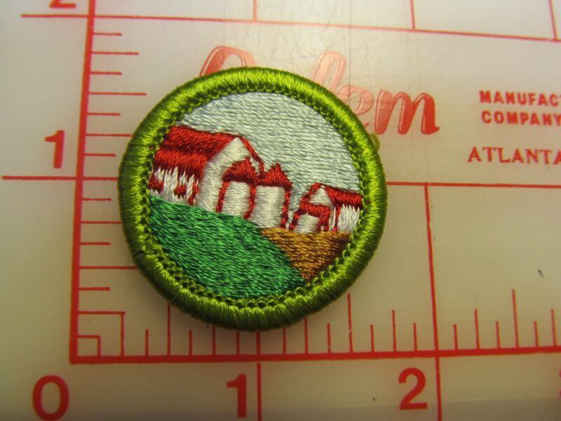 FARM ARRANGEMENT merit badge plastic backed patch (oP)