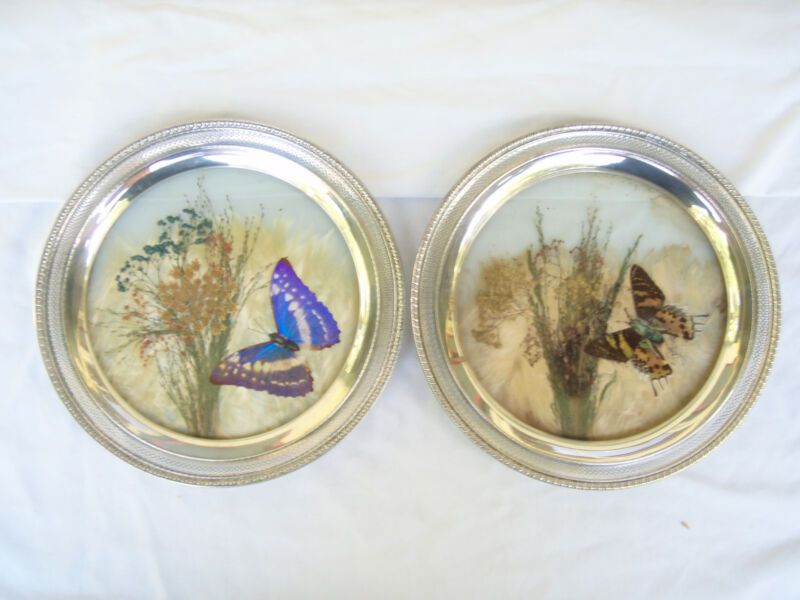 Pair of Whiting Sterling Silver and Glass Pressed Butterfly and Flower Plates