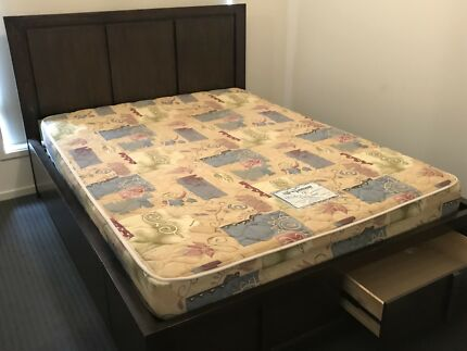 Harvey Norman queen size bed plus two matching bedside tables
