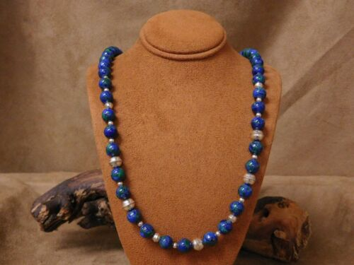 Vintage Sterling Silver Beaded Malachite Azurite Necklace