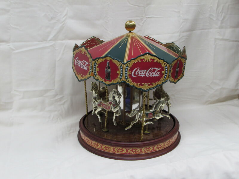 Coca Cola 1997 Franklin Mint Musical Carousel Working Condition