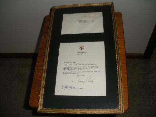 President  Jimmy Carter Autograph Signed Letter & Envelope  Framed & Matted