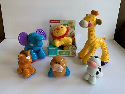 FISHER PRICE Clicker (6) Animals LION  ELEPHANT HORSE COW WALRUS GIRAFFE