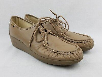 Tan Womens Oxford (SAS Womens Oxford Shoe Size 10 S AAA Mocha Beige Tan Lace Up Shoes Tripad Loafer)