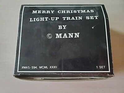 Merry Christmas Light Up Train Set by Mann Vintage Hand Painted Ceramic with box
