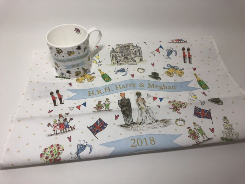 H.R.H. Harry & Meghan Royal Wedding 2018 China Mug & Tea Towel by Milly Green