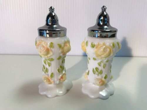 Antique Milk Glass Decorated Glass SALT & PEPPER SHAKERS w/ Embossed Flowers