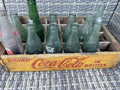 Yellow Antique Vintage Coca-Cola Wooden 24 Bottle Crate Case & Bottles