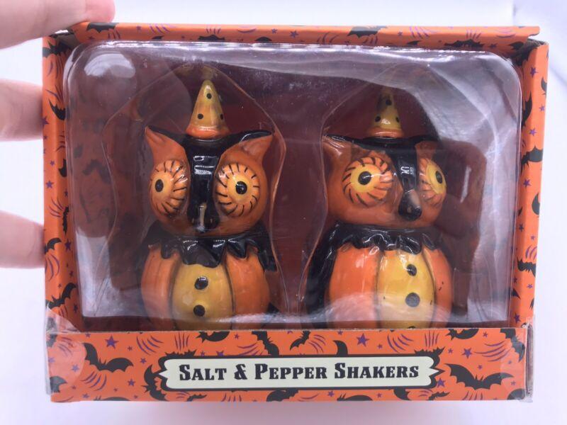 NEW Halloween Owls Salt & Pepper Shakers By JOHANNA PARKER DESIGN NIB