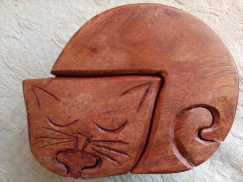 "Wooden Sleeping Cat Puzzle Trinket Box by Asha Handicrafts India 2"" High 5"" Wide"