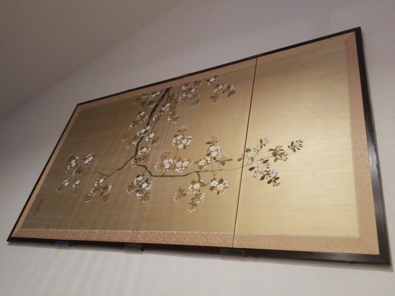 Vintage Japanese 4 Panel Silk Screen Bought In Japan In The Early 80