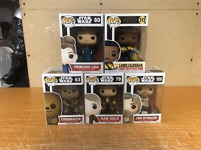 Lot Of 5 Star Wars FUNKO POPS Luke Leia Han Lando Chewbacca