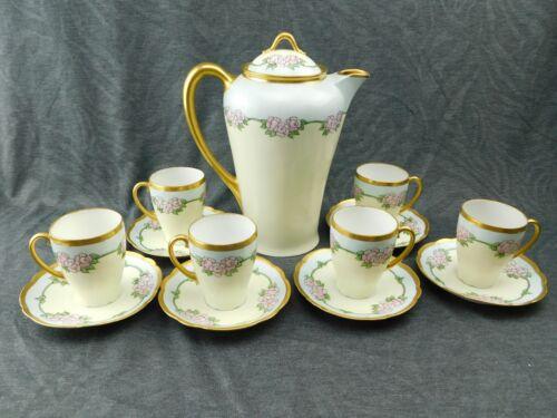 Antique KPM Hand Painted Chocolate Pot w/ 6 Cups & Saucers - Bavaria Louise