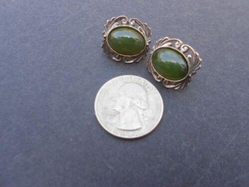 Genuine Vintage Jade 925 Silver Earrings