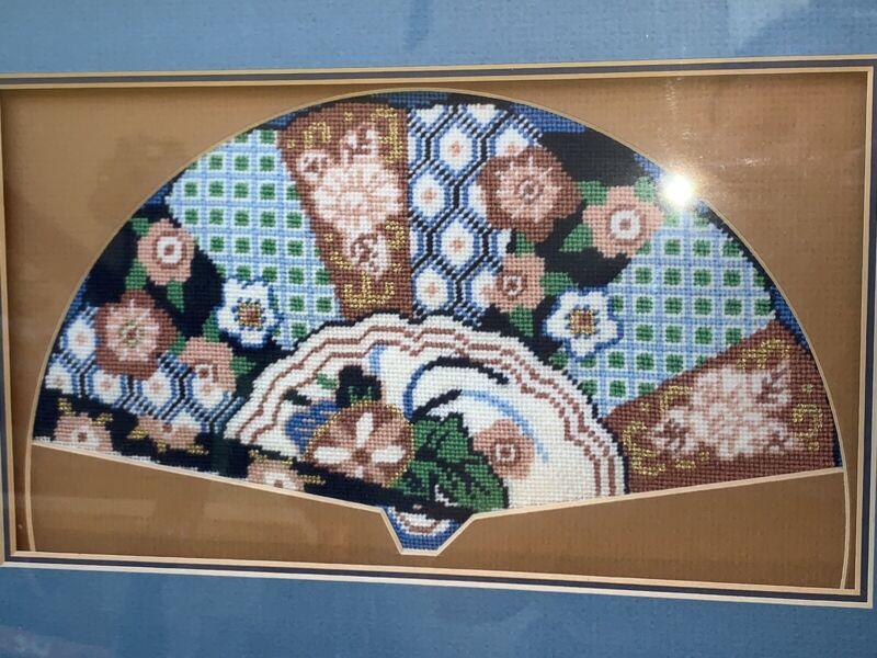 "Vintage Custom Imari Style Wool Embroidery Fan Flowers 15""x10.5"" Framed EUC"