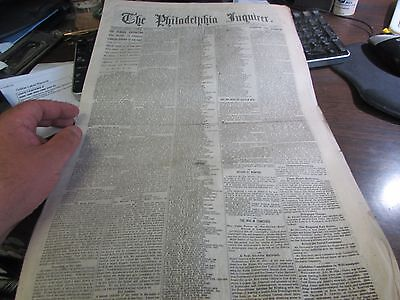 CIVIL WAR - THE PHILADELPHIA INQUIRER MARCH 1ST 1864 - ORIGINAL