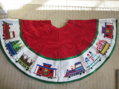 """Vintage 52"""" Company Kids  Train Snowman Christmas Tree Skirt.New in Package *"""