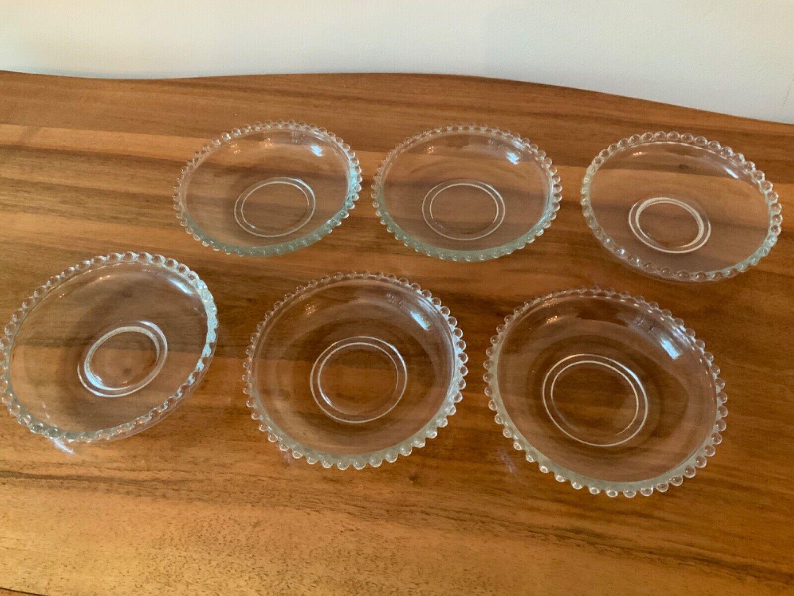 6 Dessert Beilagenteller Glas mit Perlrand 16 cm Perles Cote Table