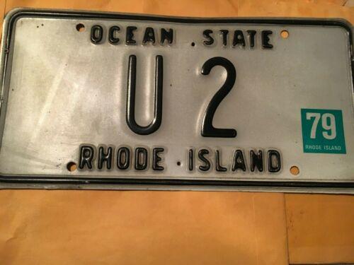 "1979 Vintage Rhode Island Metal License Plate ""U 2""  I love the band too!"