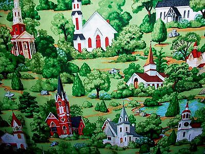 Victorian Buildings In Rolling Green Hills Cotton Quilt Fabric