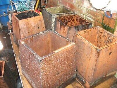 set of five square vintage chimney pots
