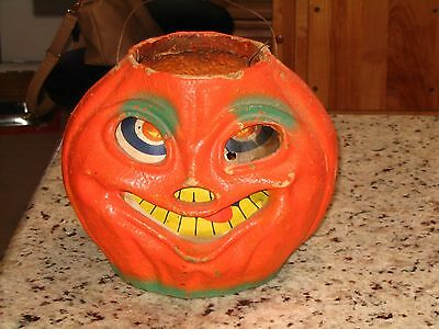 Large vintage paper mache pumpkin Jack O Lantern