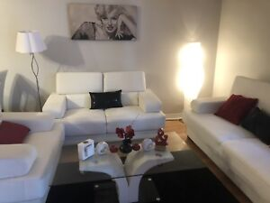 White Leather Couches and Dining Table Brand New For Sale
