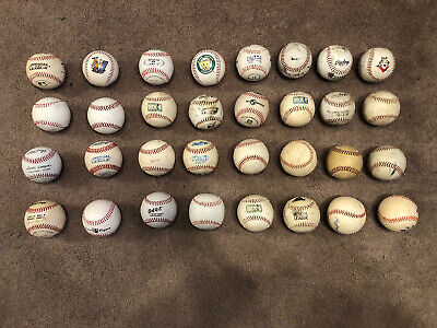 32 Used Leather Practice Baseballs Various Brands Lot Of 32 Balls :FREE SHIPPING