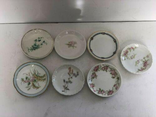Antique Butter Pts Lot of 7 Porcelain Floral