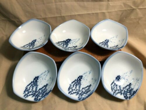 Japanese sushi, sauce, dipping, Vintage bowls, porcelain, set of six, Exc cond