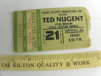 Ted Nugent Concert Ticket Stub-1978-Weekend Warriors Tour Huntsville Alabama