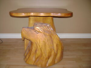 hand carved eagle head end table