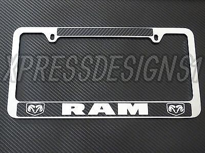 Dodge License Plate Frame (Dodge ram license plate frame chrome PLASTIC , carbon fiber details,chrome text)