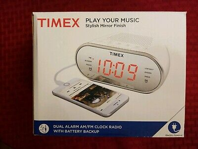 Timex T2312W AM/FM Mirror Dual Alarm Clock Radio w/Digital Tuning. New open box.